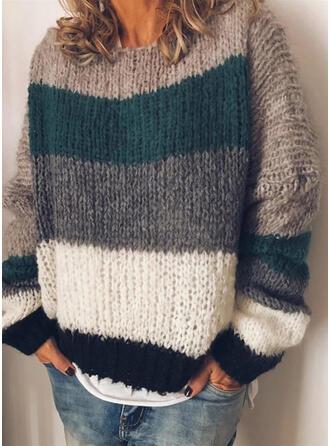 Color Block Crew Neck Casual Sweaters