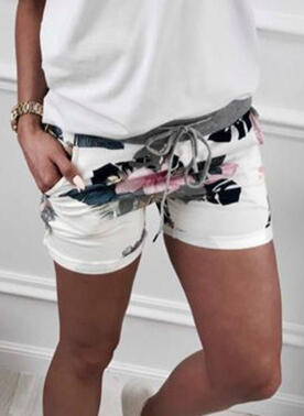 Floral Print Leaves Above Knee Casual Sporty Vacation Pocket Drawstring Pants Shorts