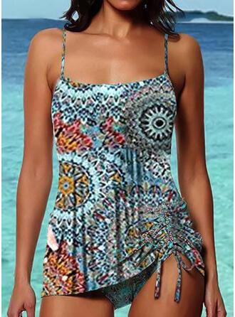 Floral Drawstring Strap Fashionable Bohemian Tankinis Swimsuits