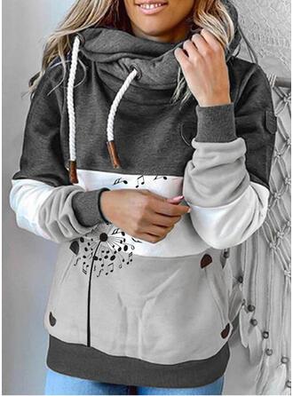 Color Block Dandelion Long Sleeves Hoodie