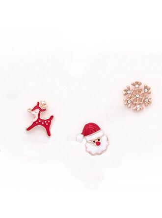 Nice Färgglada Enkel Jul Legering Fauxen Pärla med Oäkta Pearl Kvinnor örhängen (Sats om 6)