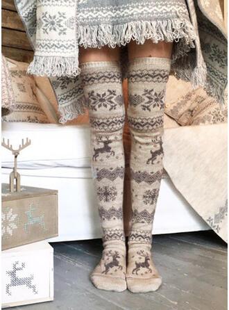 Print/Christmas Reindeer Breathable/Comfortable/Women's/Christmas/Knee-High Socks Socks/Stockings
