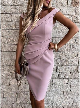 Solid/Backless Sleeveless Bodycon Knee Length Elegant Dresses