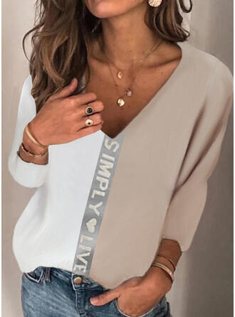 Color Block Heart Print Letter V-Neck Long Sleeves T-shirts