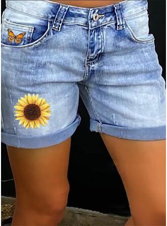 Print fickor Shirred Extra stor storlek Ovanför knäet Fritids Sexig Blommig Jeans Shorts
