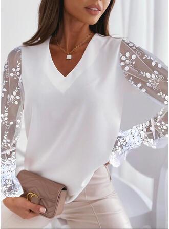 Solid Chiffon Lace V-Neck Long Sleeves Elegant Blouses