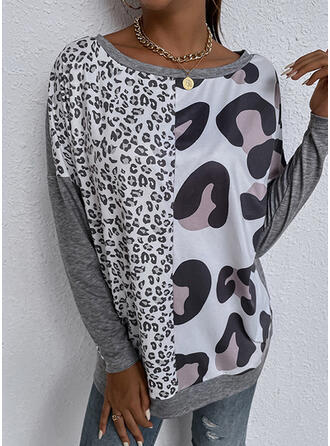 Leopard Print Round Neck Long Sleeves T-shirts