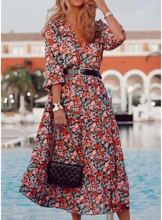 Print/Floral 3/4 Sleeves A-line Skater Casual/Elegant Midi Dresses