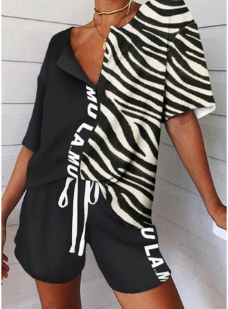 Striped Patchwork Plus Size Drawstring Casual Sporty Suits