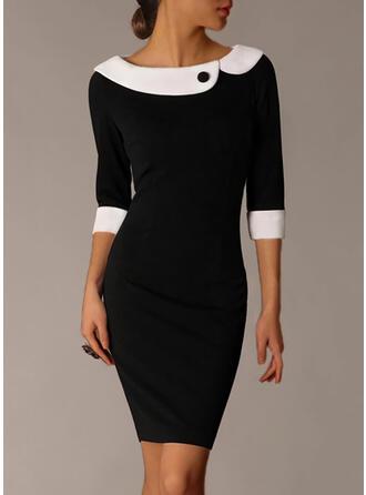 Color Block 1/2 Sleeves Bodycon Knee Length Elegant Pencil Dresses