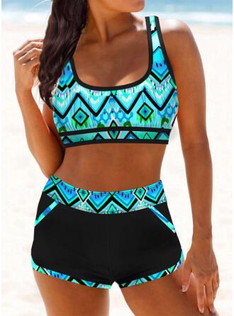 Stripe Print Strap U-Neck Sexy Vintage Fresh Boho Bikinis Swimsuits