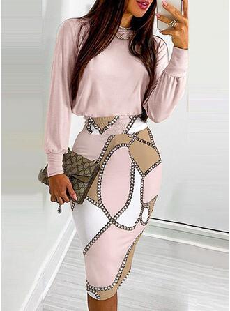 Print Long Sleeves Lantern Sleeve Bodycon Knee Length Casual Dresses