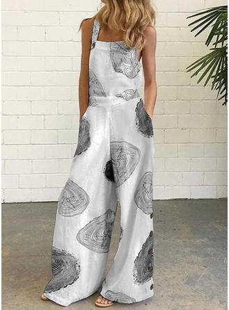 Print Strap Sleeveless Casual Vacation Jumpsuit