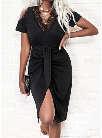 Solid Lace Short Sleeves Cold Shoulder Sleeve Sheath Knee Length Little Black/Casual Dresses