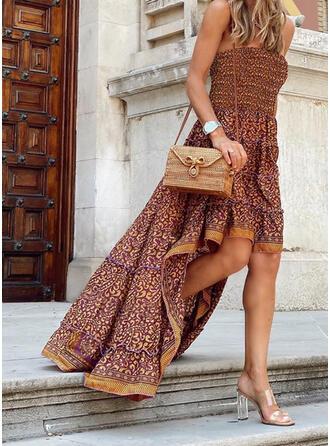Print Sleeveless A-line Asymmetrical Casual/Boho/Vacation Skater Dresses
