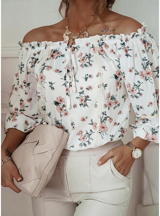 Print Floral Lace Lace-up Off the Shoulder 3/4 Sleeves Casual Blouses