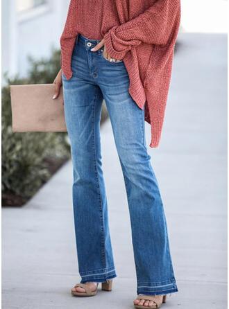 Shirred Extra stor storlek Lång Elegant Sexig Denim & Jeans