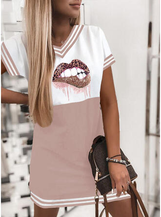 Print/Color Block/Striped/Leopard Short Sleeves Shift Above Knee Casual Dresses