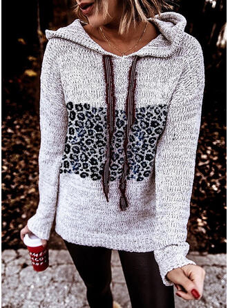 Färg block Leopard Hooded Casual Tröjor