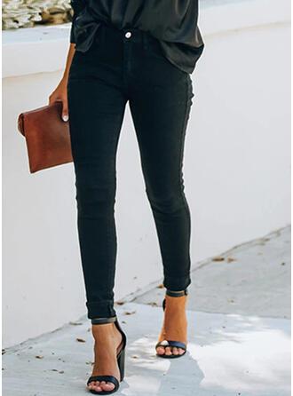 Solid Shirred Extra stor storlek Lång Elegant Sexig Mager Denim & Jeans