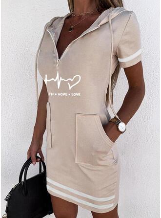 Print/Heart/Letter Short Sleeves Bodycon Above Knee Casual Sweatshirt Dresses