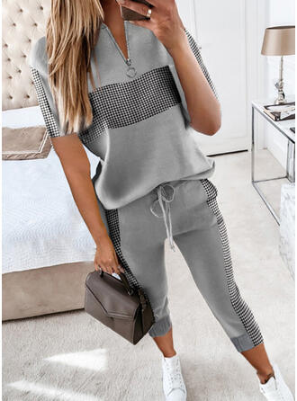 Plaid Casual Plus Size Drawstring Pants Two-Piece Outfits