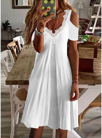 Solid Lace Short Sleeves Cold Shoulder Sleeve Shift Above Knee Casual/Vacation Dresses