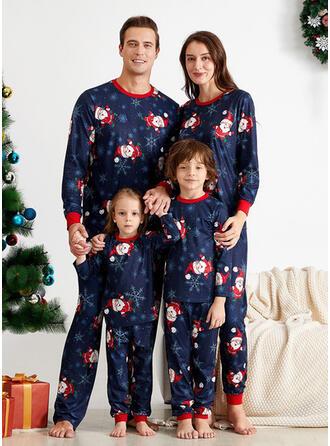 Jultomten Tecknad Matchande familj Jul Pyjamas