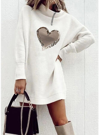 Print/Heart Long Sleeves Dropped Shoulder Shift Above Knee Casual Tunic Dresses