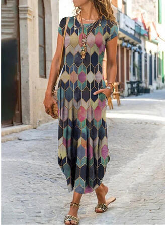 Print/Geometric Short Sleeves Shift Casual Midi Dresses