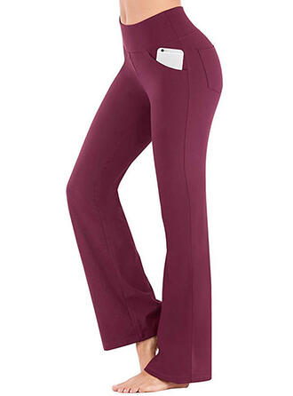 Shirred Casual Elegant Sexy Skinny Solid Leggings