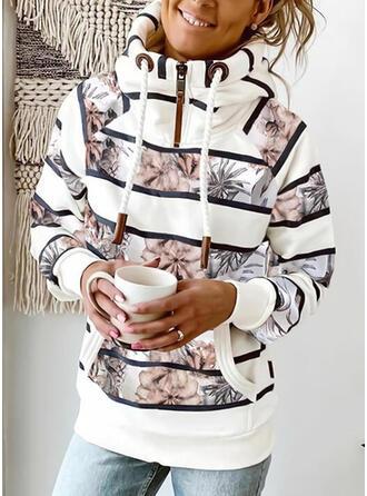 Print Floral Striped Pockets Long Sleeves Hoodie