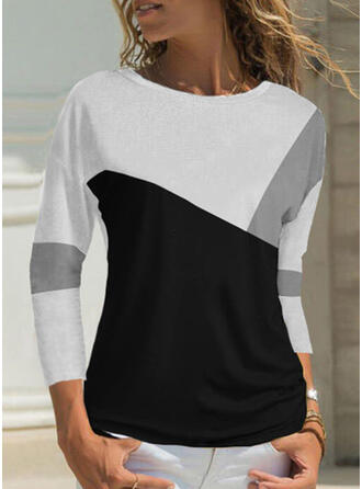 Color Block Round Neck 3/4 Sleeves T-shirts