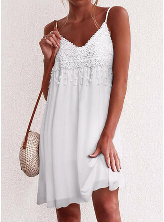 Lace/Solid Sleeveless Shift Above Knee Little Black/Casual/Vacation Slip Dresses