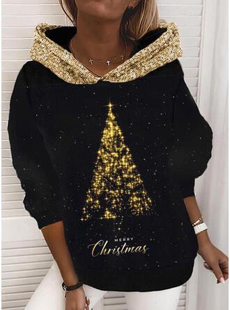 Christmas Print Letter Sequins Hooded Long Sleeves Christmas Sweatshirt