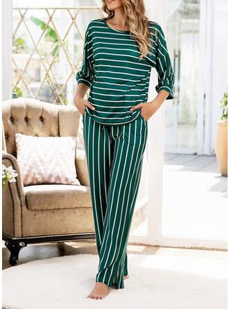 Bomullsblandningar Rand Extra stor storlek Rund-ringning Långa ärmar Pyjamasuppsättning