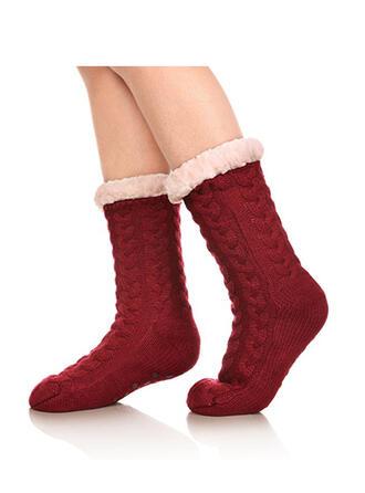 Solid Color/Crochet Warm/Christmas/Crew Socks/Non Slip/Unisex Socks