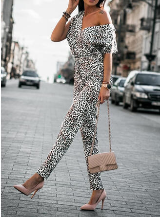 Print V-Neck Short Sleeves Casual Jumpsuit