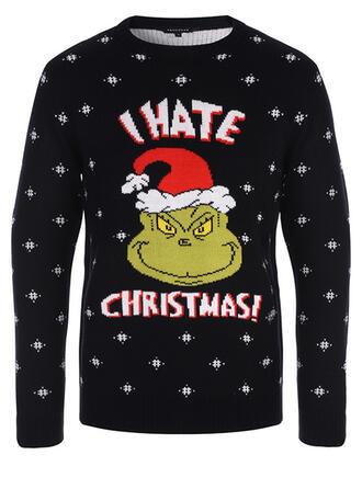 Könsneutrala polyester Print Brev Ugly Christmas Sweater
