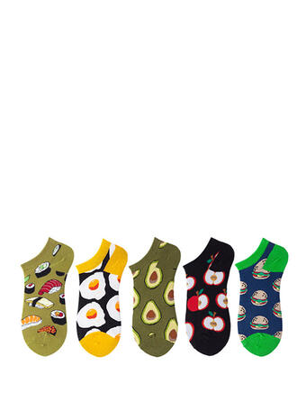 Country Style/Colorful/Crochet Multi-color/Ankle Socks Socks (Set of 5 pairs)