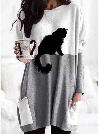 Color Block Animal Print Pockets Round Neck Long Sleeves Sweatshirt