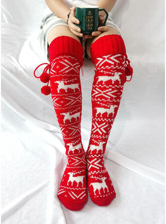 Print/Christmas Reindeer Warm/Comfortable/Women's/Christmas/Knee-High Socks Socks/Stockings