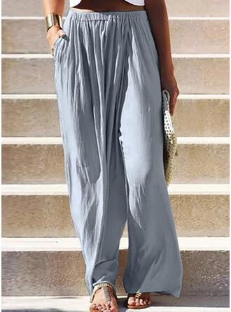 Solid Shirred Plus Size Boho Plain Lounge Pants