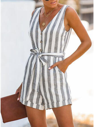 Striped V-Neck Sleeveless Casual Romper