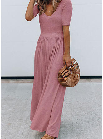 Solid U-Neck Short Sleeves Elegant Jumpsuit