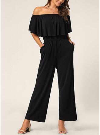 Solid Off the Shoulder Short Sleeves Elegant Jumpsuit
