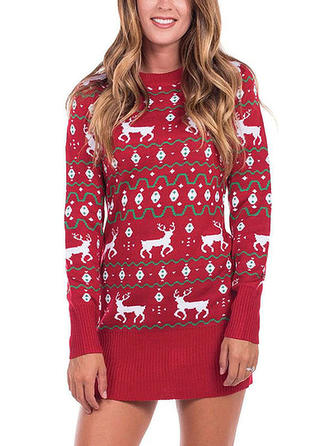 Djur Round Neck Casual Lång Jul Ugly Christmas Sweater