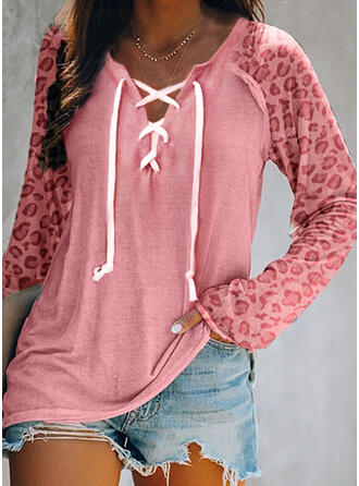 Color Block Leopard Lace-up V-Neck Long Sleeves Casual Blouses