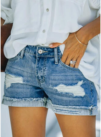 Solid Cotton Above Knee Elegant Plus Size Pocket Shirred Ripped Button Pants Shorts Denim & Jeans