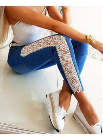 Solid Denim Cropped Casual Sexy Plus Size Jacquard Pocket Denim & Jeans